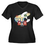 Frolic Pad Women's Plus Size V-Neck Dark T-Shirt