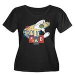 Frolic Pad Women's Plus Size Scoop Neck Dark T-Shi