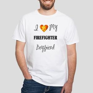 Firefighter Boyfriend White T-Shirt