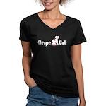 Grape Cat Women's V-Neck Dark T-Shirt