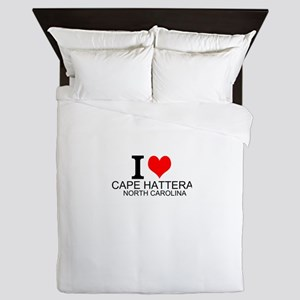 I Love Cape Hatteras, North Carolina Queen Duvet