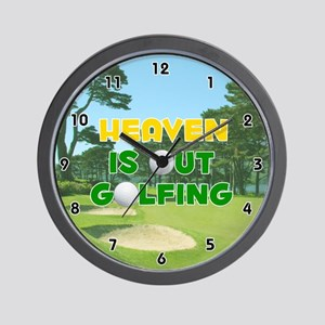 Heaven is Out Golfing (Gold) Golf Wall Clock