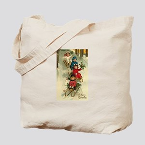 Victorian Children Christmas Tote Bag