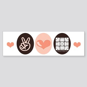 Peace Love Sudoku Bumper Sticker