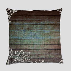 western country barnwood lace Everyday Pillow