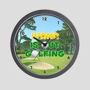 Iyana is Out Golfing (Gold) Golf Wall Clock
