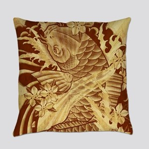 vintage japanese koi fish Everyday Pillow