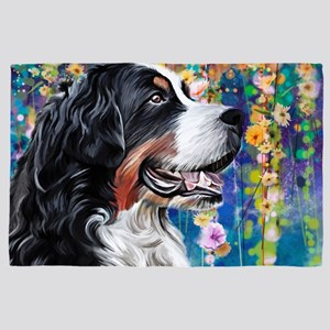 Bernese Mountain Dog Painting 4' X 6' Rug
