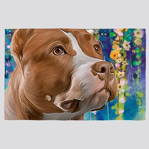 Pit Bull Painting 4' X 6' Rug