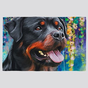 Rottweiler Painting 4' X 6' Rug
