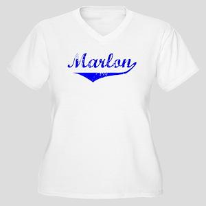 Marlon Vintage (Blue) Women's Plus Size V-Neck T-S