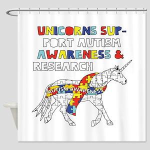Unicorns Support Autism Awareness Shower Curtain