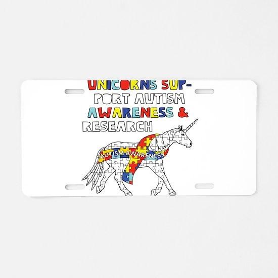 Unicorns Support Autism Awa Aluminum License Plate
