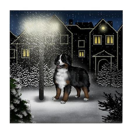 BERNESE MOUNTAIN DOG SNOW CITY Tile Coaster