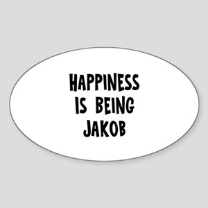 Happiness is being Jakob Oval Sticker