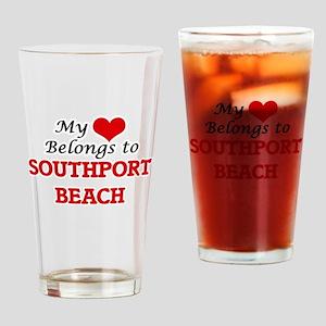 My Heart Belongs to Southport Beach Drinking Glass