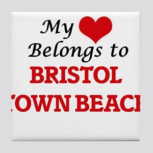 My Heart Belongs to Bristol Town Beac Tile Coaster