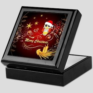 Christmas owl with candle Keepsake Box