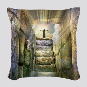 Easter Jesus Resurrection Empt Woven Throw Pillow