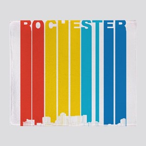 Retro Rochester Minnesota Skyline Throw Blanket