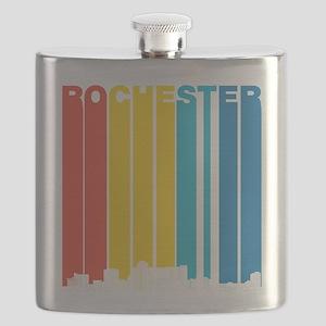 Retro Rochester Minnesota Skyline Flask