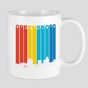 Retro Greensboro North Carolina Skyline Mugs