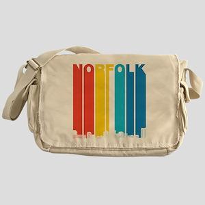 Retro Norfolk Virginia Skyline Messenger Bag