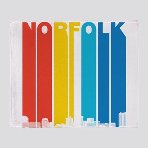 Retro Norfolk Virginia Skyline Throw Blanket