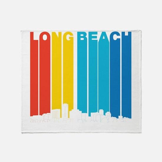 Retro Long Beach California Skyline Throw Blanket