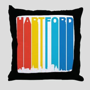 Retro Hartford Connecticut Skyline Throw Pillow