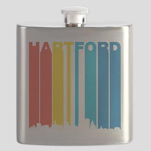 Retro Hartford Connecticut Skyline Flask