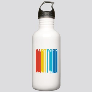 Retro Hartford Connecticut Skyline Water Bottle