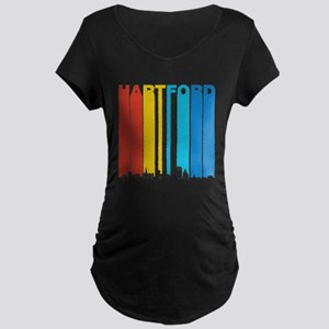Retro Hartford Connecticut Skyline Maternity T-Shi