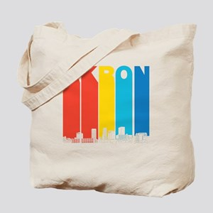 Retro Akron Ohio Skyline Tote Bag