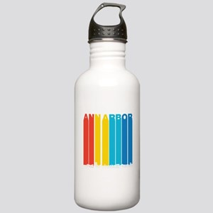 Retro Ann Arbor Michigan Skyline Water Bottle