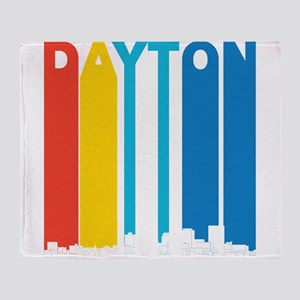 Retro Dayton Ohio Skyline Throw Blanket