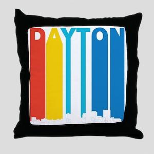 Retro Dayton Ohio Skyline Throw Pillow