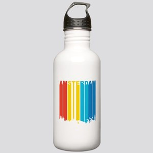 Retro Amsterdam Skyline Water Bottle