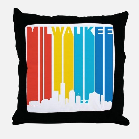 Retro Milwaukee Skyline Throw Pillow