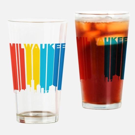 Retro Milwaukee Skyline Drinking Glass