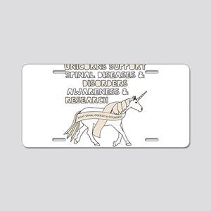 Unicorns Support Spinal Dis Aluminum License Plate