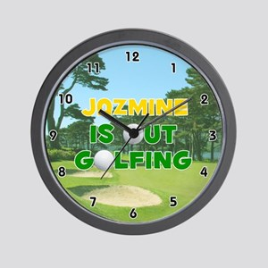 Jazmine is Out Golfing (Gold) Golf Wall Clock