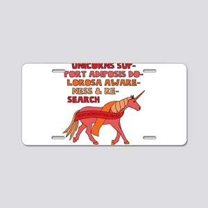 Unicorns Support Adiposis D Aluminum License Plate