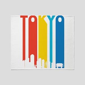 Retro Tokyo Skyline Throw Blanket