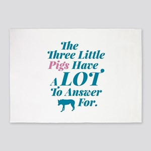 Three Little Pigs & The Big Bad Wol 5'x7'Area Rug