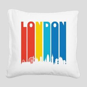 Retro London Skyline Square Canvas Pillow