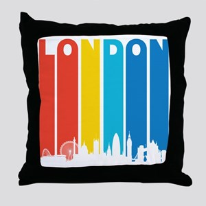 Retro London Skyline Throw Pillow