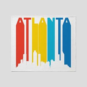 Retro Atlanta Skyline Throw Blanket