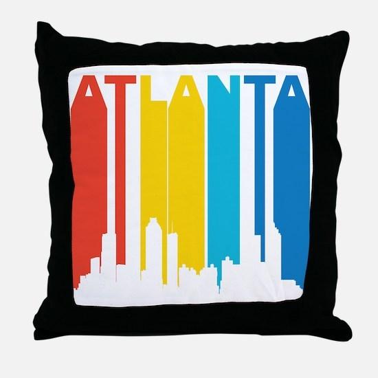 Retro Atlanta Skyline Throw Pillow