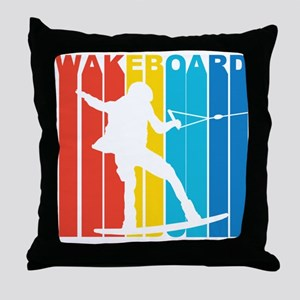 Retro Wakeboard Throw Pillow